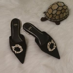 Zara | Black Mules with Gold Brooch Detail